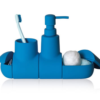 Submarino Porcelain Bathroom Accessory Set in Light Blue design by Seletti