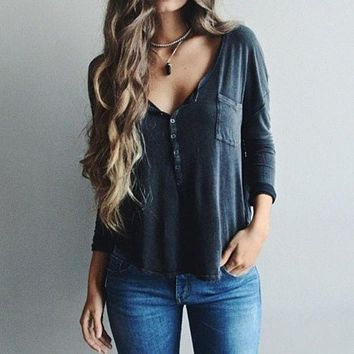 Womens Tops Fashion Casual Blouse Deep V Neck Blouse