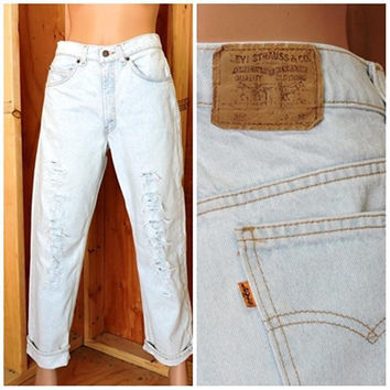 Orange tab Levis 560 30 X 30 / Vintage 70s Levis student jeans /  distressed destroyed faded high waisted levi jeans