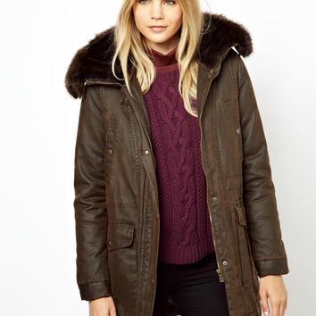 Parka London Maida Waxed Parka with Faux Fur Trim