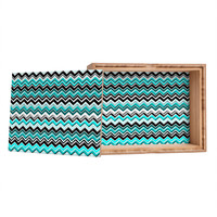 Madart Inc. Turquoise Black White Chevron Storage Box