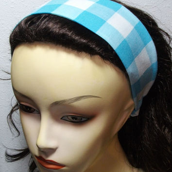 White and Light Blue Checkers Headband Reversible Wide Wrap Around Fabric Headband