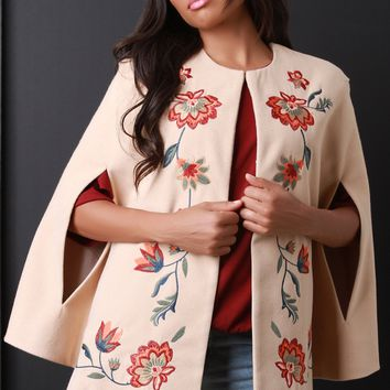 Floral-Embroidered Cape