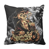Mafia Skull be rolling in money Throw Pillow