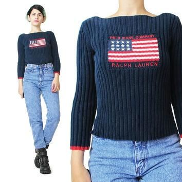 1990s Polo Sweater Ralph Lauren Vintage American Flag Sweater Navy Blue Sweater Knit S