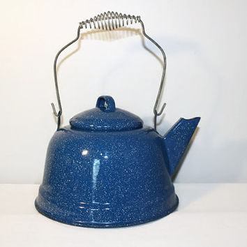 Blue Enamelware Speckled Tea Kettle, Metal Camping Teapot Farmhouse Country