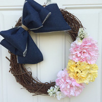 Shabby Chic Everyday Denim Wreath; Country Chic Wreath; Pink Yellow Spring Summer Wreath; Rugged and Fancy Grapevine Wreath; Mother's Day