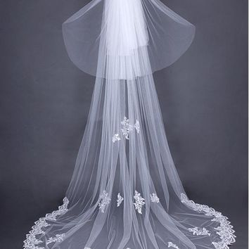 [44.99] In Stock Charming Ivory Tulle Wedding Veil With Sequin Lace Appliques #blackfriday - dressilyme.com
