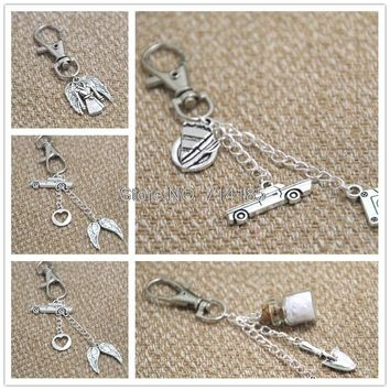 Supernatural  inspired Key ring Dean theme charms Key Chain charm in silver