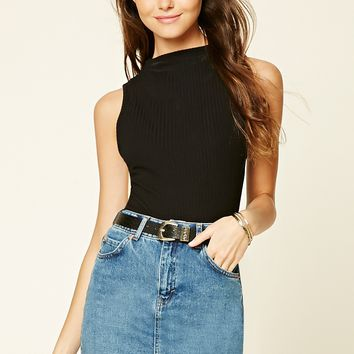 Ribbed High-Neck Top