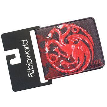 European American Movies Designer Anime Wallet Women Men Bifold GAME OF THRONES Wallet Leather Money Holder Pocket Dragon Purse