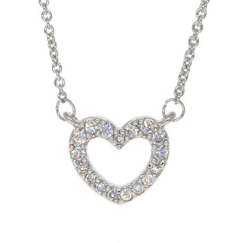 Dear Deer White Gold Plated CZ Pave Simple Heart Pendant Necklace