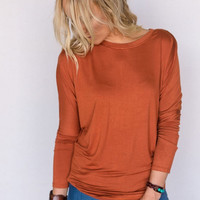Dolman Boho Tee in Burnt Orange