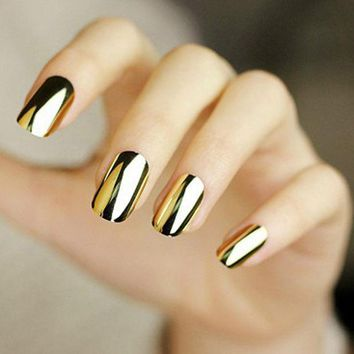 DCK9M2 2PCS gold or silver Nail Art Decorations Sticker Patch Foils Armour Stickers Cool Nail Stickers For Nails Beauty