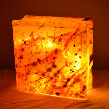 "Glass Box Lantern with String Lights in Golden Yellow - ""Merch Light"""