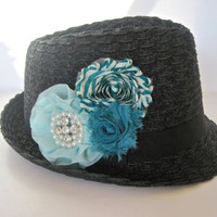Black Packable Fedora  Hat with Shades of Turquoise Flowers a Rhinestone Pearl Accent