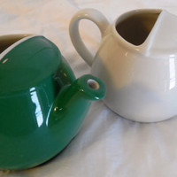 "Hall Teapots 3 1/2"", 2 Restaurantware Teapots by Hall, Vintage Small Teapots, 1 Green-1960s, 1 Ivory-1980s Signed"