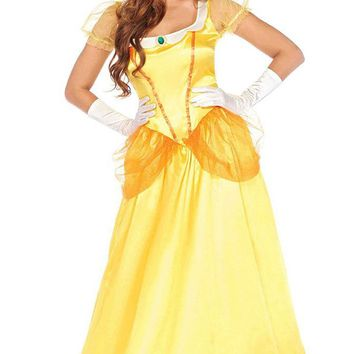 Golden Princess Yellow Satin Sheer Mesh Puff Sleeve Ruffle Scoop Neck A Line Ball Gown Maxi Dress Halloween Costume