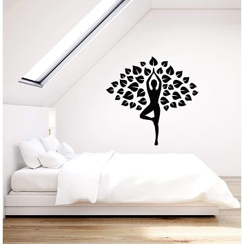 Vinyl Wall Decal Yoga Leaves Tree Meditation Room Interior Home Stickers Mural (ig5870)