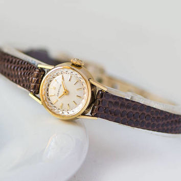 Certina watch for women micro wristwatch Swiss made gold plated AU 40 watch unique jewelry classical wedding gift luxury leather strap new