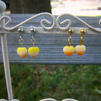 Heart Earrings Stud Earrings Post Earrings Kawaii Earrings Candy Corn Earrings Halloween Earrings Gold Earrings Kawaii Jewelry CLEARANCE