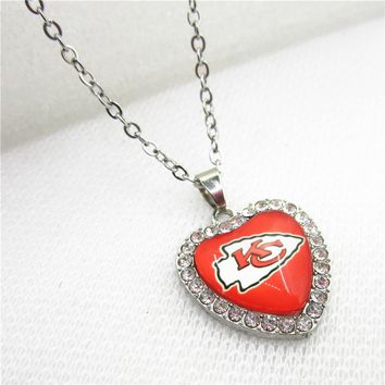 USA Kansas City Chiefs Heart Necklace Pendant Jewelry With Chains Necklace DIY Jewelry Football Sports Charms