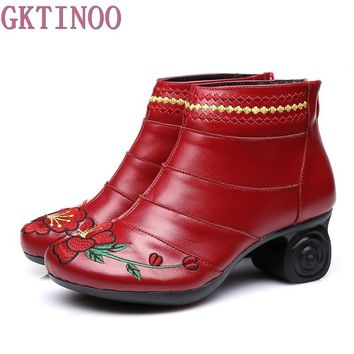 Handmade Women Shoes Genuine Leather Women Boots Spring Autumn Vintage Ankle Boots Flat Bootie Botas Mujer
