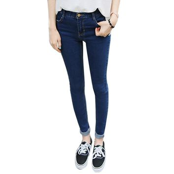 New Women Pencil Stretch Denim Skinny Jeans Pants High Waist Trousers Plus Size