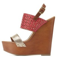 Textured Laser-Cut & Scalloped Wedges by Charlotte Russe