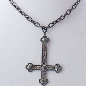 Mens Unisex Gunmetal Inverted Cross Necklace