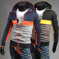 Color Full Zip Up Fashion Style Men Hoodie
