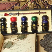 JEWEL TONE PEN AND INK GIFT SET - Colored Calligraphy Ink and Pen Set