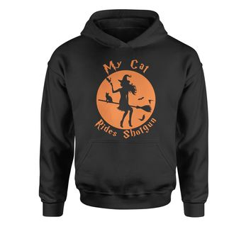My Cat Rides Shotgun Witch on Broom  Youth-Sized Hoodie