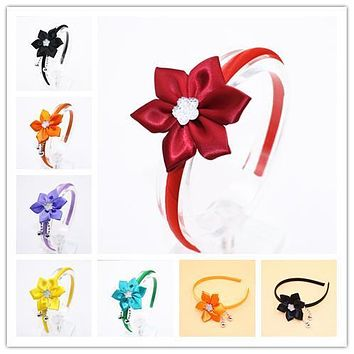 Cute Grosgrain Ribbon Flowers Headbands Shiny Kids Solid Color Stars Hair Band Girls Hair Accessories