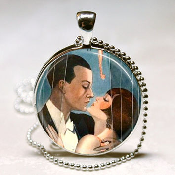 The Great Gatsby Art Deco Jewelry Flapper, F. Scott Fitzgerald, 1920's, Roaring Twenties Art Pendant with Ball Chain Necklace Included