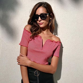 Women Fashion V-Neck Short Sleeve Off Shoulder Stripe T-shirt Crop Tops