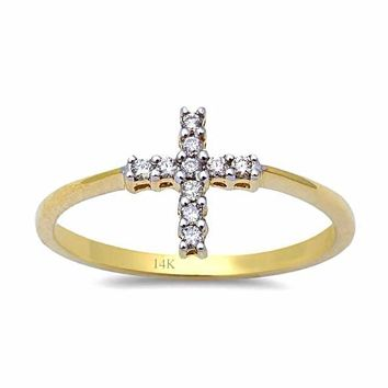 0.10ct Pavé Round Diamonds in 14K Gold Cross Ring