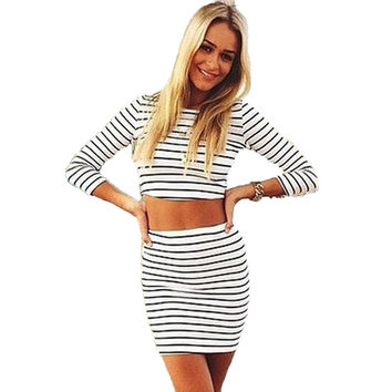 2017 New Summer Striped Casual Women Tracksuit Two Piece Set Crop Top Plus Size Fashion Sexy Formal Harajuku Vintage Clothes
