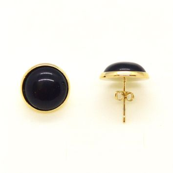 (1-1050-h10) Gold Overlay Pearl Half Ball Earrings, 12mm (4 colors available).