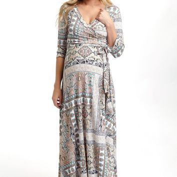 Taupe Moroccan Print Draped Maternity Maxi Dress