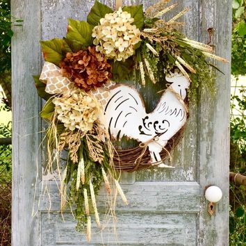 front door wreaths, country rustic, hydrangea Wreath, rooster wreath, farmhouse wreath, year round door hanger, french country wreath