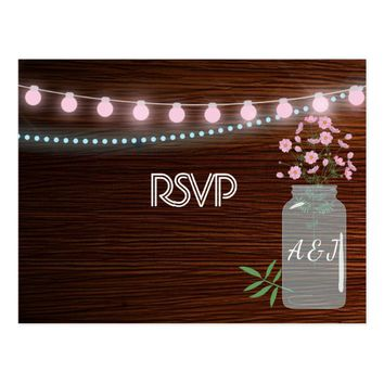 Pink and blue Cosmos rustic floral Wedding RSVP Postcard