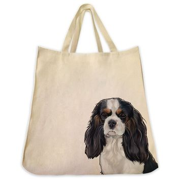 Tri Color Cavalier King Charles Spaniel Extra Large Eco Friendly Reusable Cotton Canvas Tote Bag
