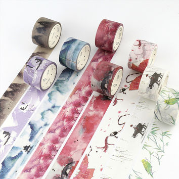 1.5-3cm*7M Chinese style washi tape DIY decorative scrapbooking sticker planner masking adhesive tape label school supplies