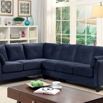 2 pc Peever collection contemporary style navy flannelette sectional sofa with tufted back and padded arms