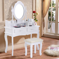 White Vanity Jewelry Makeup Dressing Table Set W/Stool 4 Drawer Mirror Wood Desk - Sears