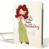 Woman in Retro Jumpsuit with Piece of Birthday cake for Birthday card