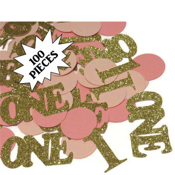 Babys first birthday confetti, pink and gold, Ready in 3-5 Weekdays, 100 CT, 1st birthday, baby shower, number 1, one, glitter