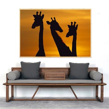 Modern Printed Sunset Landscape Africa Giraffes Painting Animals Posters Wall Pictures for Living Room Wall Art Home Decor