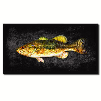 Bass Fish Black Canvas Print Picture Frame Gifts Home Decor Nautical Wall Art